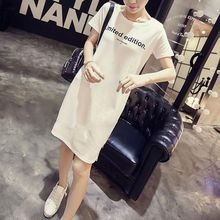 Letter Printed Casual Women\'s Dress Loose Vestidos Women Short Sleeve O-Neck T-shirt Dresses