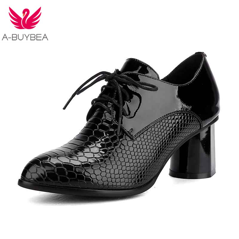 Women's Shoes Black Genuine Leather Round Toe Sexy High heels Patent leather Lace up women pumps Ladies Big size Wedding shoes fashion genuine leather shoes woman pumps 2016 new sexy wedges high heels round toe lace up women casual party shoes size 34 39