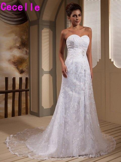 Weiß Meerjungfrau Lange Brautkleider Sweet Country Western Formale ...
