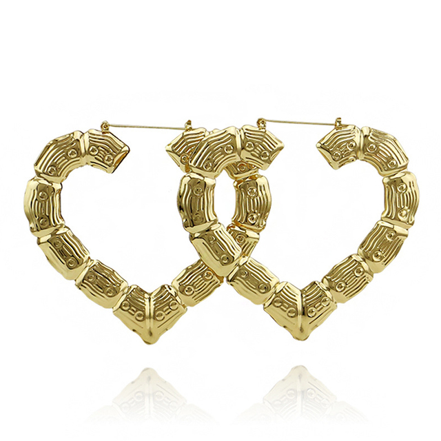 Gold Color Heart Bamboo Earrings For Women Large Exaggerated Hoop Hip Hop