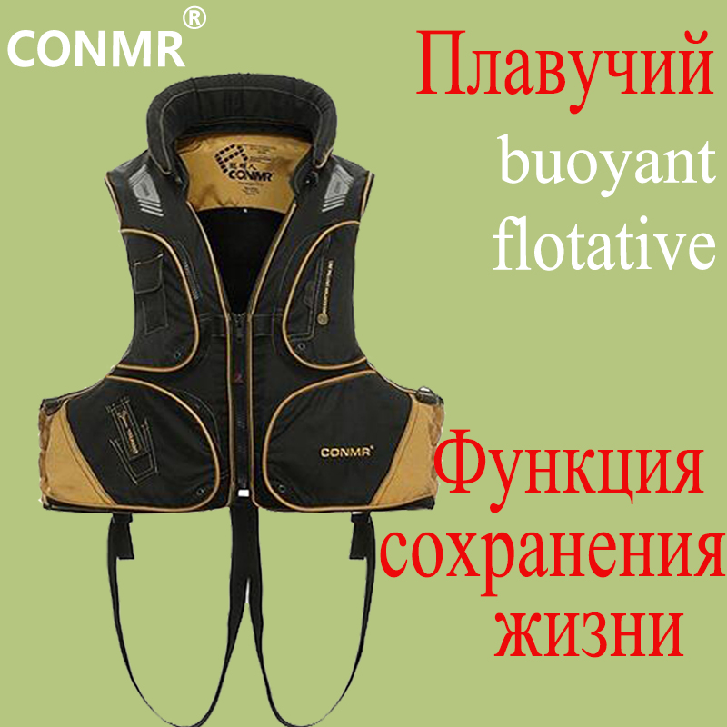 CONMR Professional Fishing Waistcoats Outdoor Sports Life Saving Vest Removable Angling Fishing Vests Multi-Pocket Jacket Wear professional multi pocket fly fishing vest sleeveless waterproof life rescue jacket outdoor photography clothing sea wear shirts