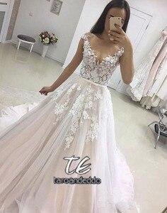 Image 2 - Applique Wedding Dress 2019 Vestidos de Novia Tulle Lace with Belt Bride Dress Sleeveless Long Mariage