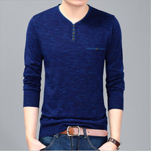 New arrival 2017 Autumn Men Casual long sleeve T-shirt men V neck men's render knitted Sweater Tops Tees men's clothing MQA5