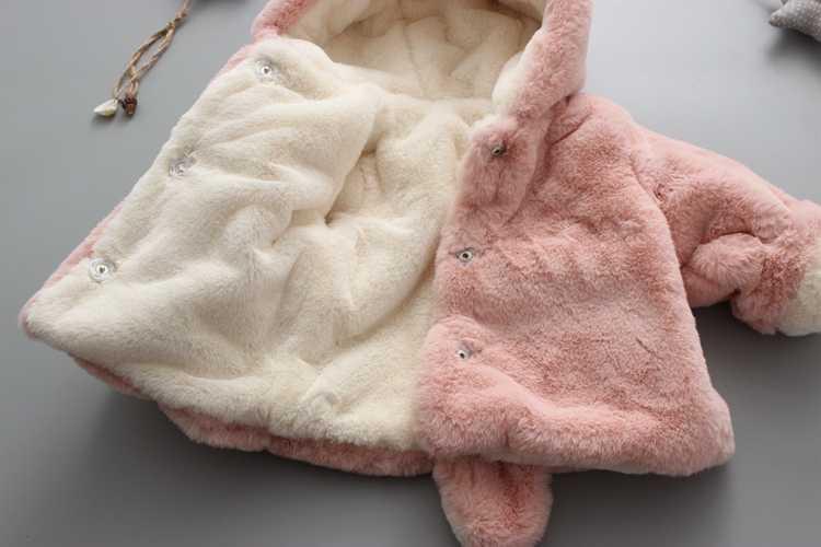 Bebek Kız Kışlık Mont Prenses yenidoğan Moda Kalın Sahte Kürk Sıcak Bebek Ceket Katı Rahat Kapşonlu tavşan Giysileri Yıpratır
