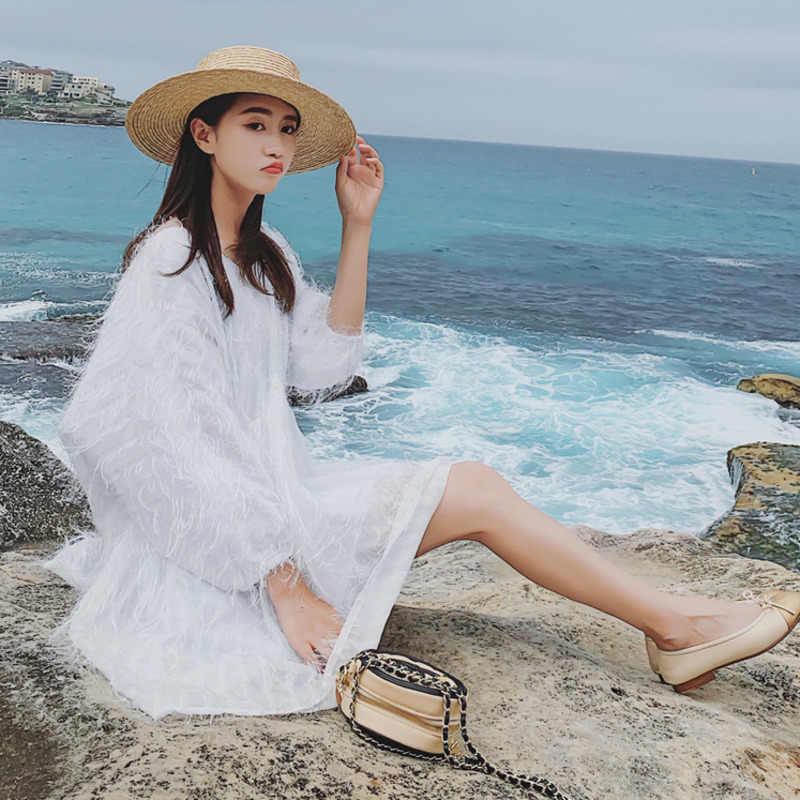 LANMREM 2019 Новое Модное шифоновое платье с рукавом-фонариком и кисточками для женщин, большие размеры, летняя свободная одежда YG805