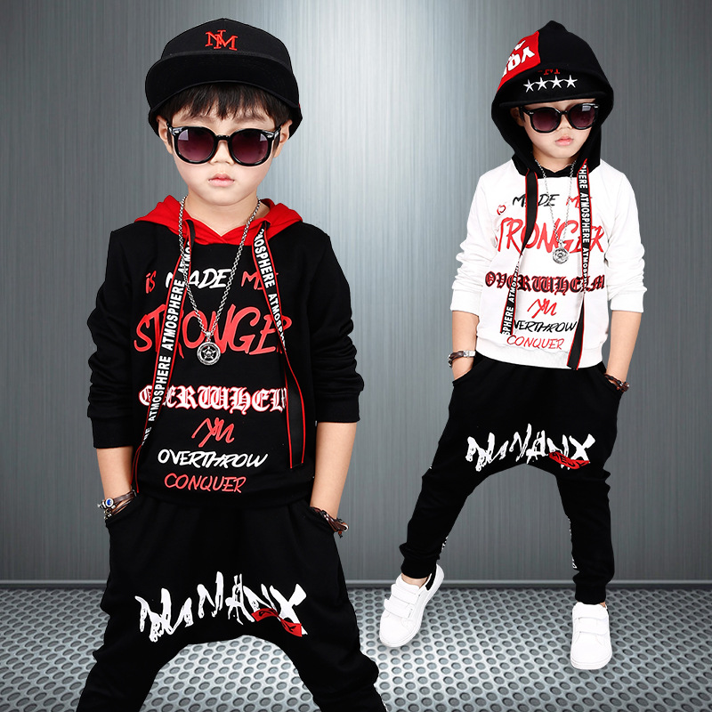 2018 new boys, spring autumn suits, kids childrens sets wear, long sleeved sports suits, trend hip hop, two sets