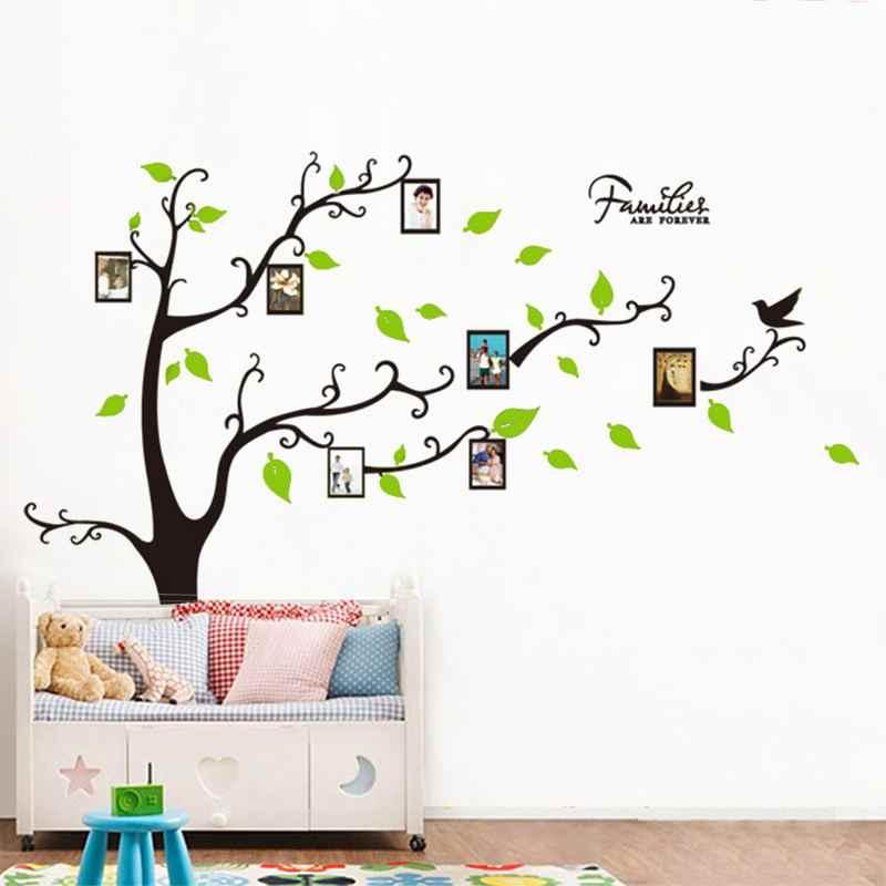 Pvc Verde Hojas Foto De Familia Marcos árbol Diy Wall Sticker Hogar Decoración Para Sala Mural Wallpaper Decal Decoración