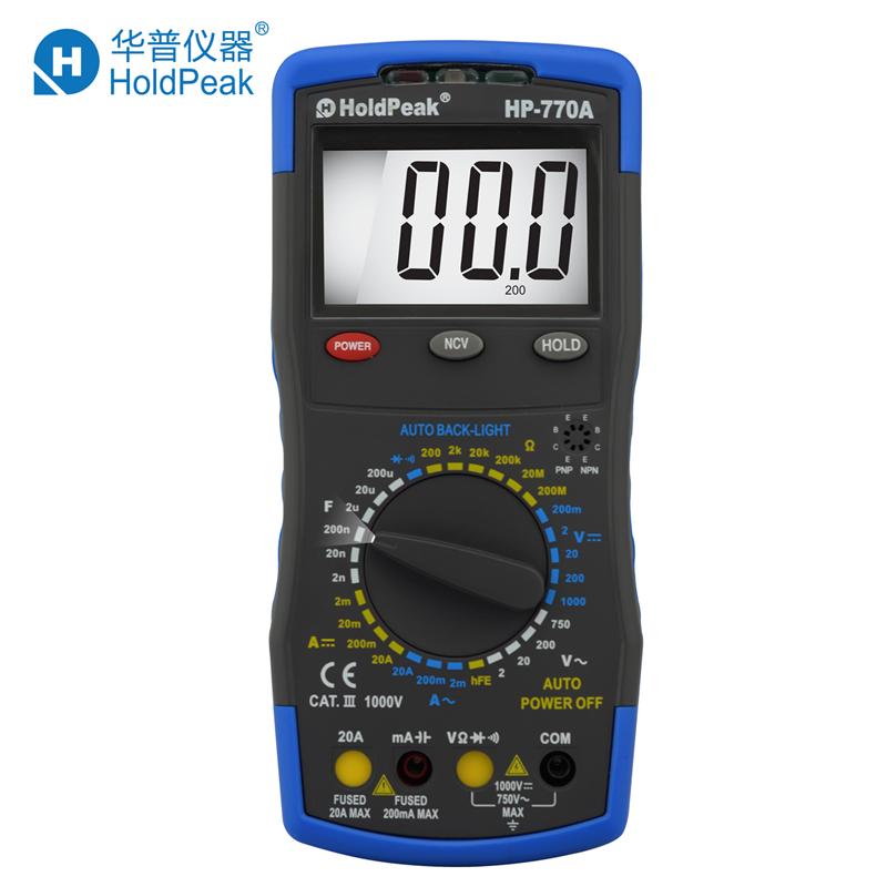 Multimetr HoldPeak HP-770A Digital Multimeter Meter with NCV Feature and Capacitance/Diode/hFE Test mini multimeter holdpeak hp 36c ad dc manual range digital multimeter meter portable digital multimeter