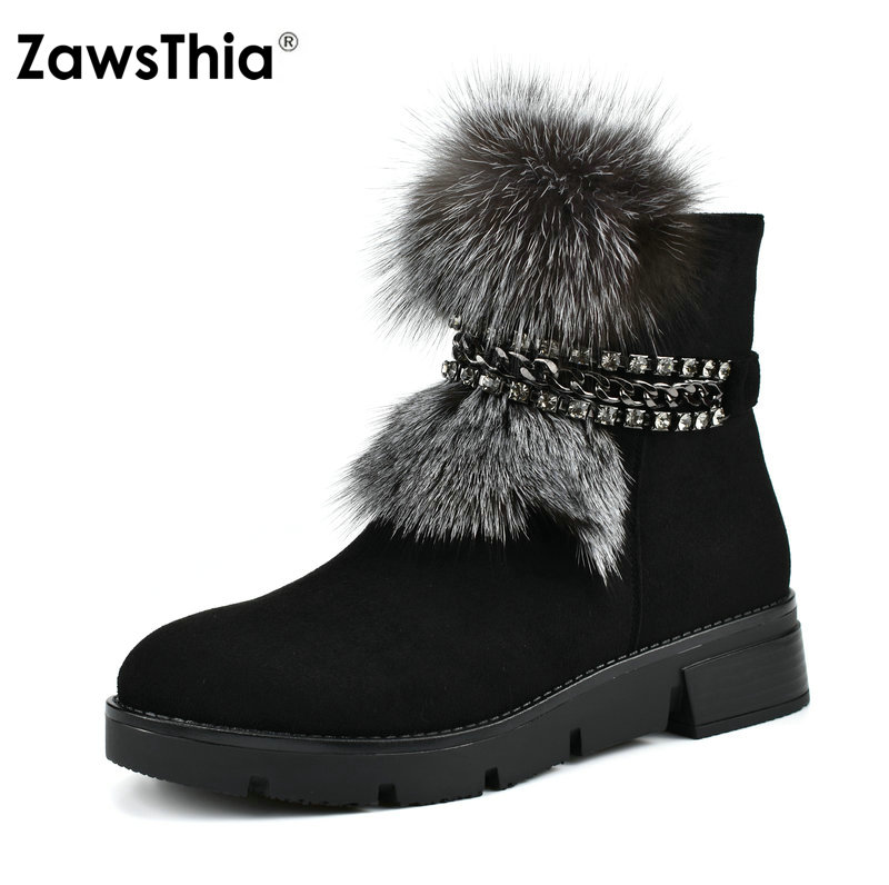 ZawsThia real fur snow boots flat low heel platform women ankle boots casual winter warm shoes women 39 s boots with chain hm023 women s winter hats real genuine mink fur hat winter women s warm caps whole piece mink fur hats