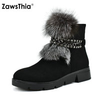 ZawsThia real fur snow boots flat low heel platform women ankle boots casual winter warm shoes women 39 s boots with chain