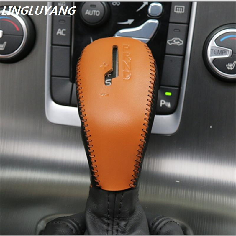 Suitable For Volvo Gears Sets Xc60 V40 V60 S60 Sew Sleeve Leather Gear Shift Knob Cover