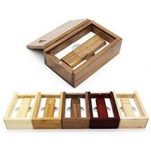 Wholesale Wooden bamboo + wood box USB flash drive pen driver pendrive 4GB 8GB 16GB 32GB memory card USB creativo personal LOGO