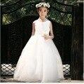 Venda quente longo lavanda luz azul rosa branco vestido de casamento da menina de flor para a menina de 12 anos de idade