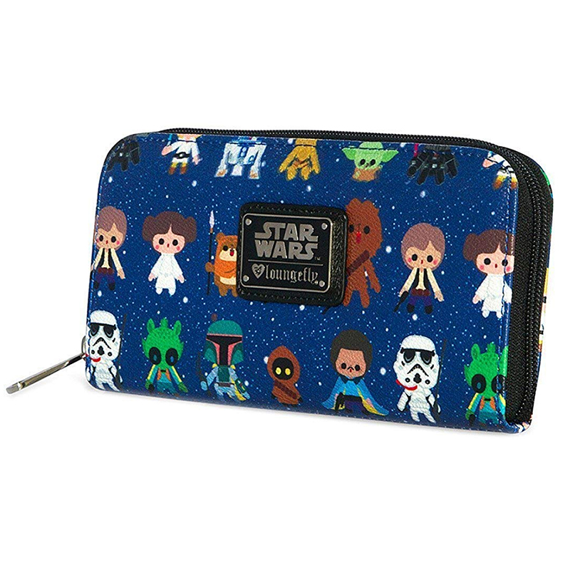 Star Wars Baby All Over Print Zip Around Wallet Cartoon Purse Mandalorian Green Bi-Fold Wallet  Star Wars Bag