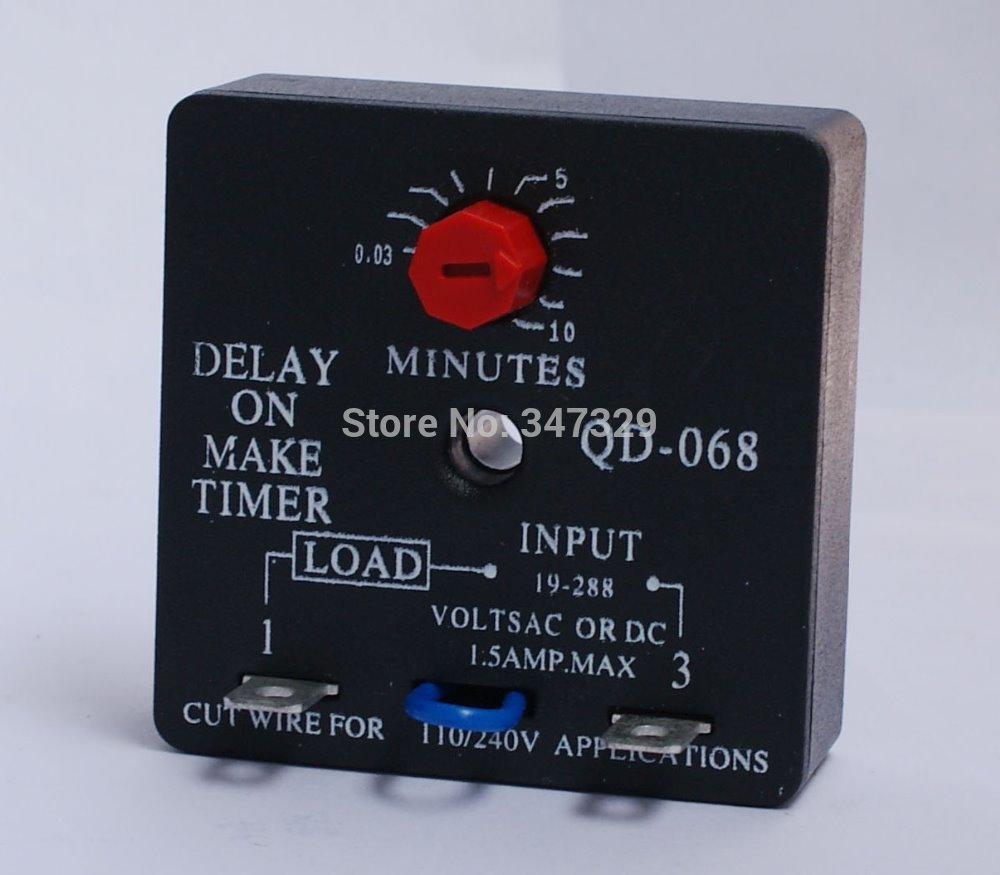Time Delay Relay QD-068 Delay On Make Timer With 0.03~10Minutes Adjustable Delay, Universal 19~288VAC Fits ADM-2, TD69, ICM102