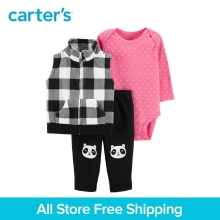 3pcs polka dots bodysuit French bulldog pants checkered fleece vest set Carter's baby girl spring autumn clothing 121I947