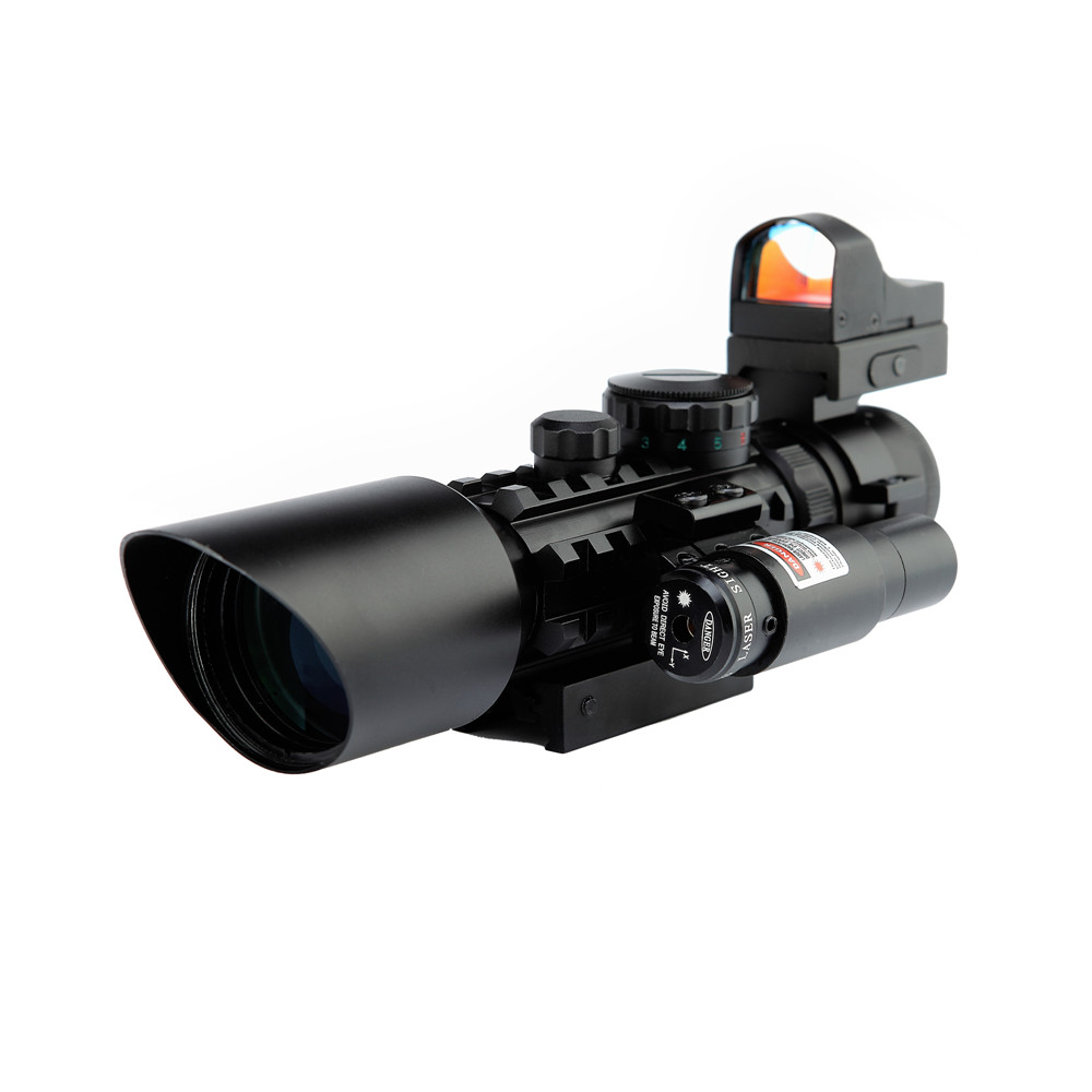 Hunting 3-10X40 Tactical Rifle Scope w/ Red Laser & Holographic Green / Red Dot Sight Combo Airsoft Gun Weapon Sight Chasse Caza