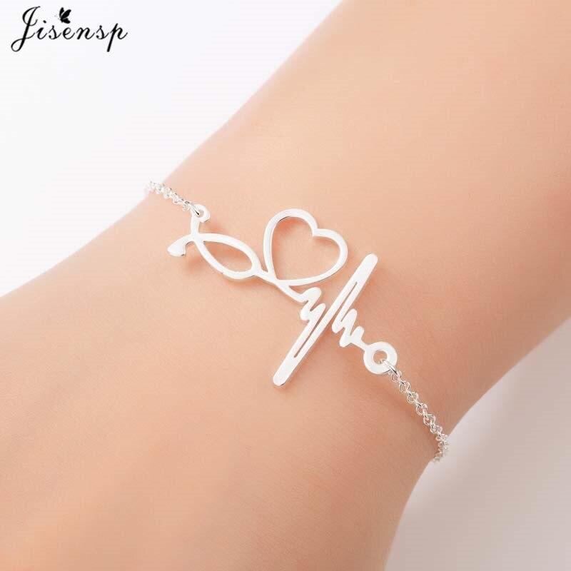 Jisensp Stainless Steel Heartbeat Cardiogram Bracelet Stethoscope Women Bracelets Bangles Special Gifts for Nurse Doctor Jewelry