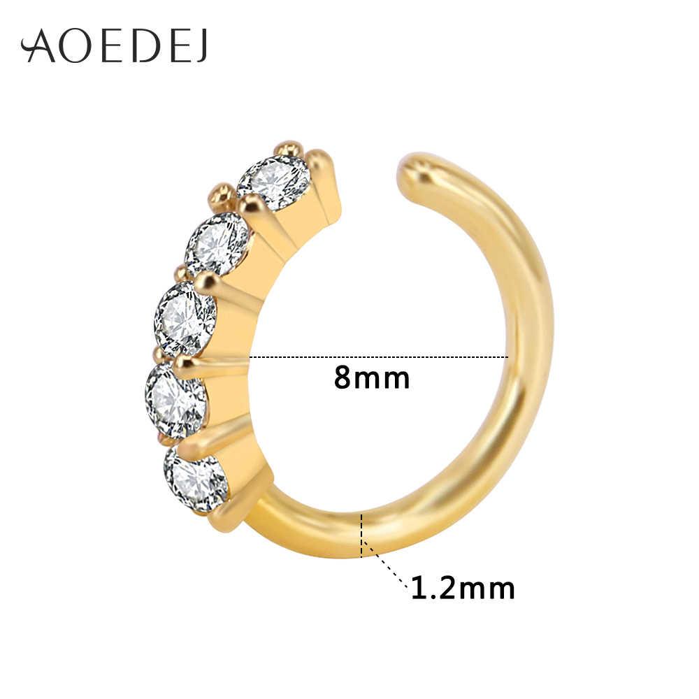 AOEDEJ קריסטל האף טבעת חישוק זהב צבע 8mm האף פירסינג תכשיטי Tpyes Helix סחוס עגילי פירסינג Nez Tragus פירסינג