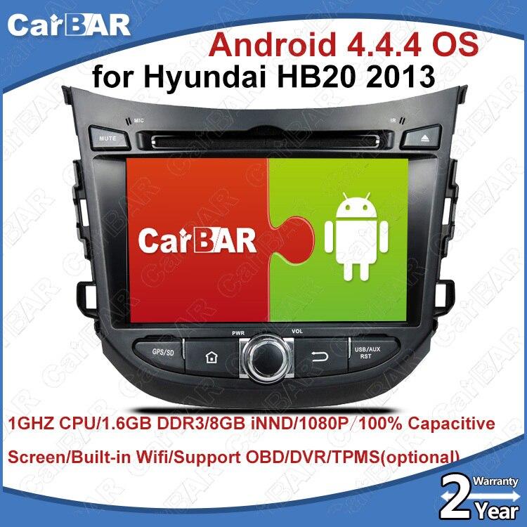 Lecteur de Navigation Audio de voiture DVD GPS C100 Android 8.0 pour Hyundai HB20 2013 SD USB IPOD WIFI prise en charge 3G DVR OBD