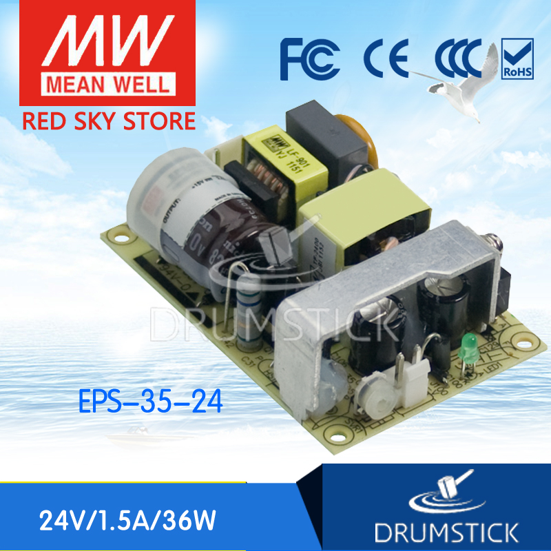 ФОТО Redsky [free-delivery 2Pcs] MEAN WELL original EPS-35-24 24V 1.5A meanwell EPS-35 36W Single Output Switching Power Supply