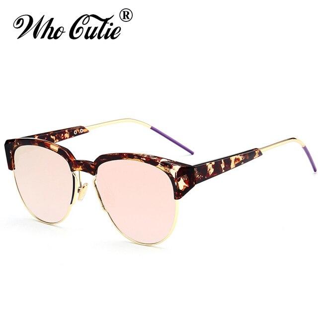 16edd0a73d WHO CUTIE 2018 Futuristic pilot Sunglasses Men Women Half Frame Eyewear  Tortoise Shell Sun Glasses Shades