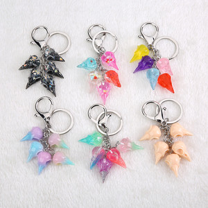 1PC Multicolorresin raven head keychain flatback resin crow pendant charms resin keyring for jewelry(China)
