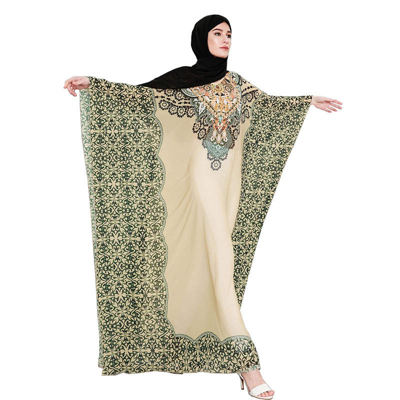 Fandy Finds Women Muslim Robe Middle East Ramadan Praying Abaya Saudi Aribia Print Flower Lady Long Dress Gown