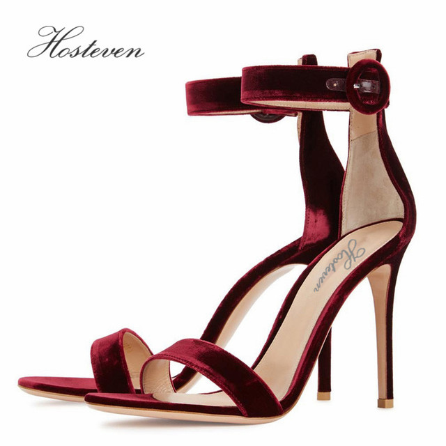Hosteven Ankle Strap Summer Women's Shoes High heeled Sandals Fashion Woman Sandals Wedding Girls Pumps Sandals Size 34-46