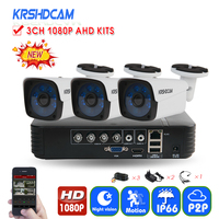 KRSHDCAM 4CH CCTV System 1080P AHD 1080N CCTV DVR 3PCS 3000TVL IR Waterproof Outdoor Security Camera