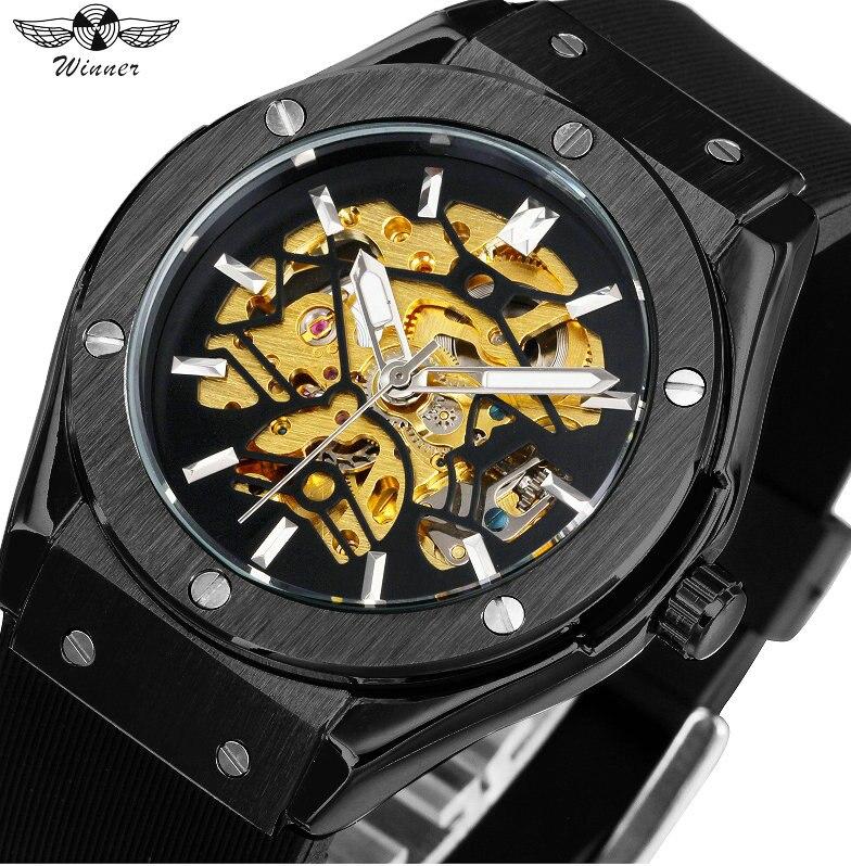 все цены на WINNER 2018 Men's Military Wrist Watches Top Brand Luxury Auto Mechanical Watch Mens Silicone Watch Band Fashion Skeleton Clock онлайн