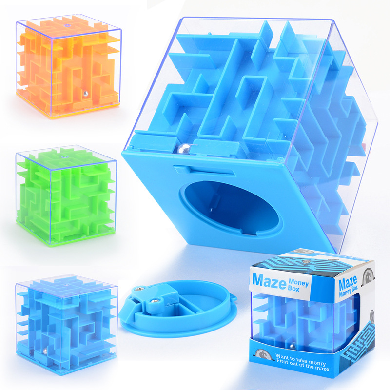 Maze Cube Magic Square Funny Kids Stress Toy With Steel Ball Puzzle Money Maze Bank Saving Coin Collection Fun Brain Game