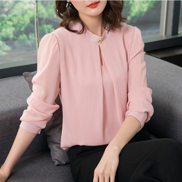 2018 Spring Autumn Chiffon Blouse Womens Tops and Blouses Long Sleeve Casual Female O-Neck Work Wear Solid Color Office Shirts