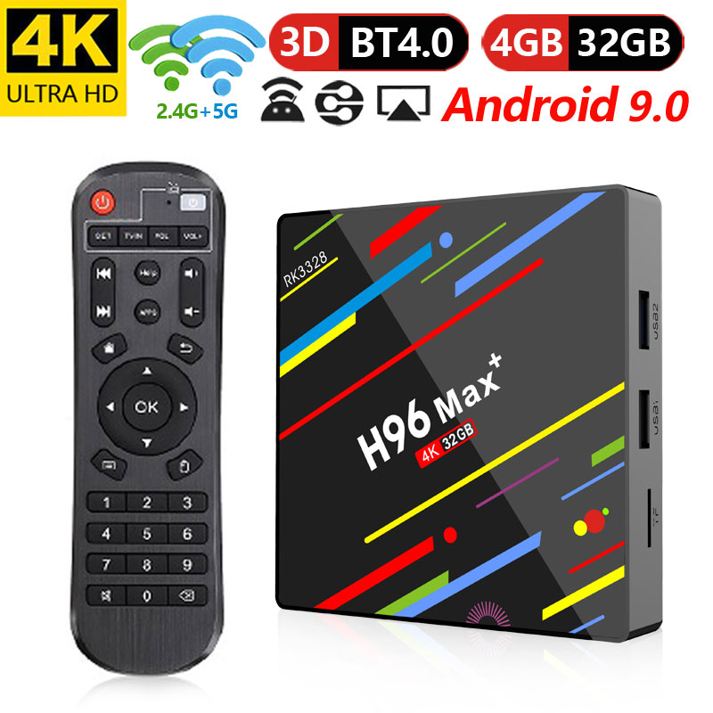 New Updated H96 Max+ 4K RK3328 Quad Core 64Bit Android 9.0 4GB RAM 3GB ROM Android TV Box 2.4/5G WIFI HD Smart Media Player