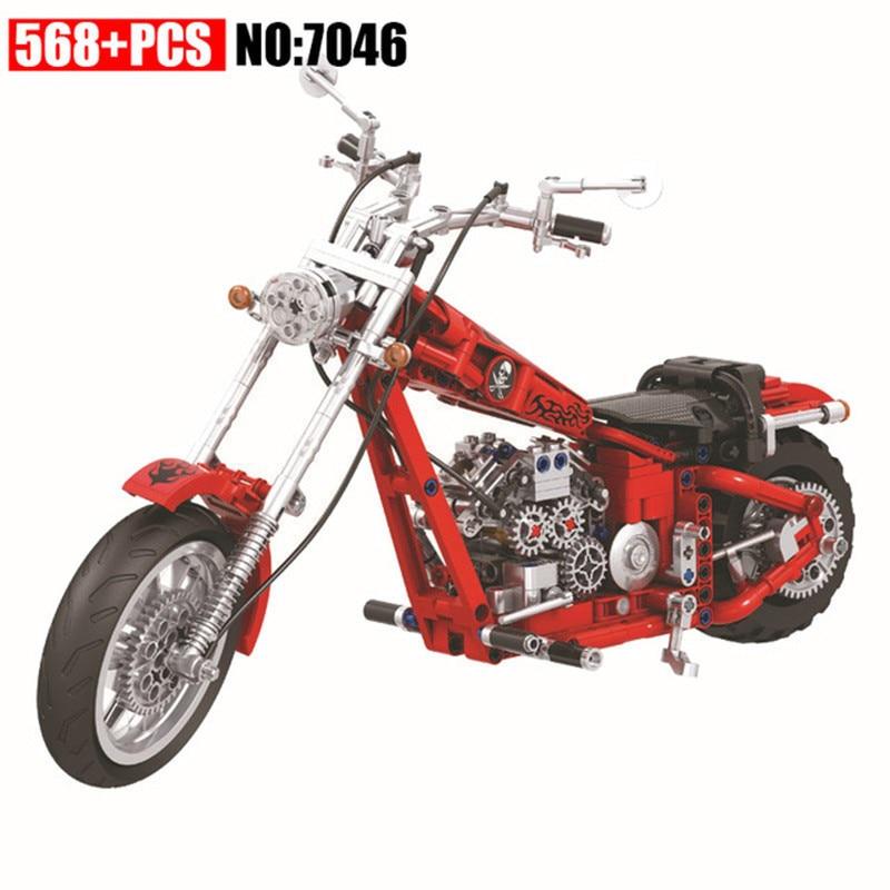 568 piezas Diy serie Technic crucero bloques huecos de la motocicleta Motor Bike ladrillos juguetes para niños grandes regalos