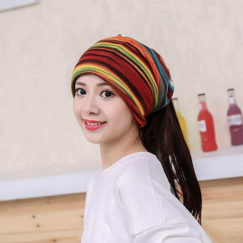 Women Stripe Hat Ruffle Cancer Hat Beanie Scarf Collar Turban Head Wrap Cap  chapeau femme gorros-in Skullies   Beanies from Apparel Accessories on ... 4b1ee66cc460