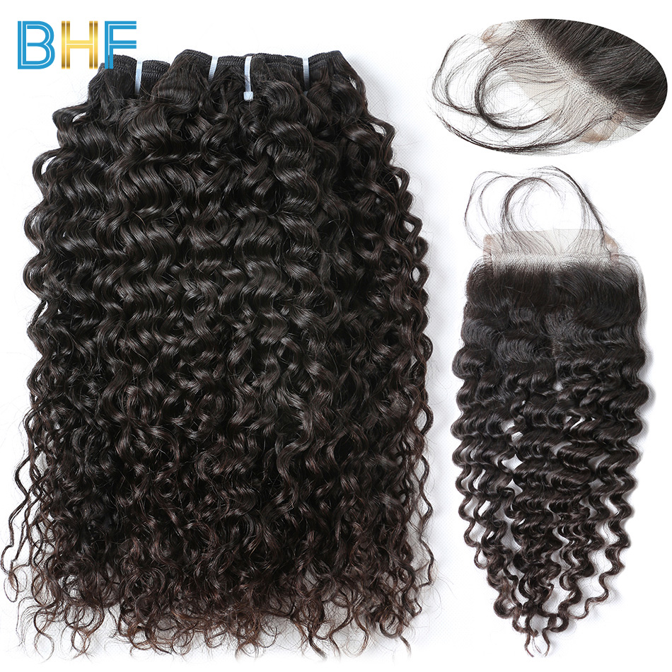 BHF Brazilian Water Wave With Closure Human Hair 3 Bundles With Lace Closure Natural Color Virgin Brazilian Hair With Closure