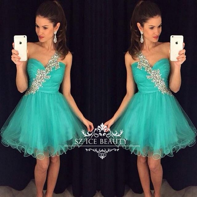 6ec97f21fd625 Emerald One Shoulder Short Homecoming Dresses 2016 Cheap Vestido Bling  Crystals Ruffles Tulle Prom Party Dress Graduation Gowns-in Homecoming  Dresses ...