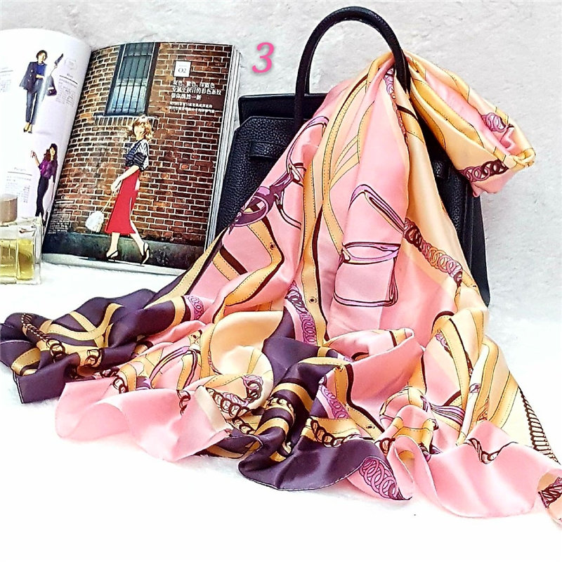 Fashion Silk Scarf Women Shawl Print Satin Hijab Female Long Spring Summer Luxury Brand Quality Sunscreen Beach Towel