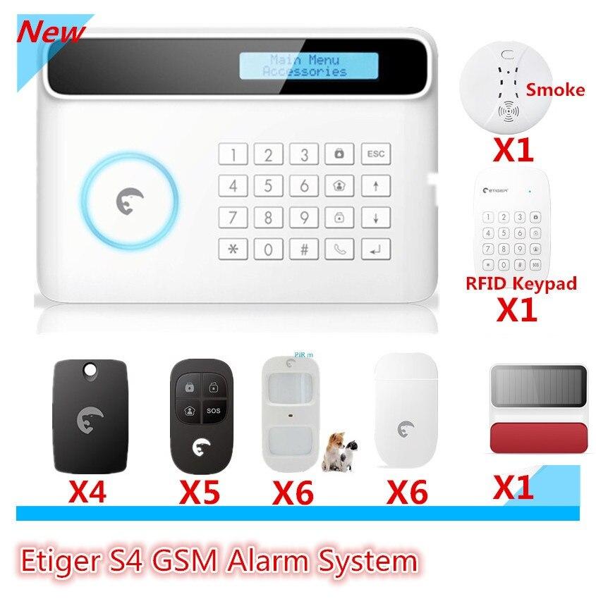 2018 plus avancée Etiger GSM Smart Home Système D'alarme Aystem avec RFID lecture clavier bras/désarmer alarme système solaire sirène threa