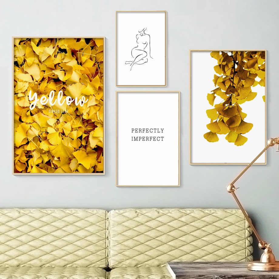 Yellow Ginkgo Leaves Abstract Line Woman Wall Art Canvas Painting Nordic Posters And Prints Wall Pictures For Living Room Decor