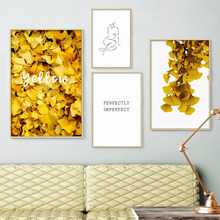 Yellow Ginkgo Leaves Abstract Line Woman Wall Art Canvas Painting Nordic Posters And Prints Pictures For Living Room Decor