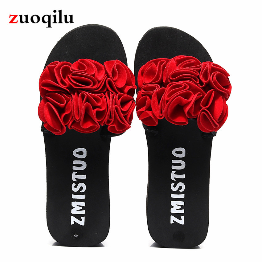 Flat Sandals Slippers Platform-Shoes Flower Woman Home Summer Ladies Comfort