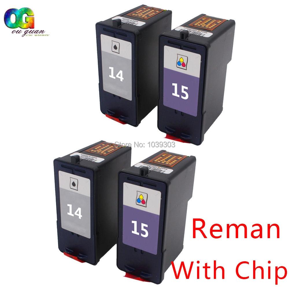 4 PCS 14 15 Ink Cartridge 18C2090 18C2110 Inkjet Set Compatible For Lexmark X2600 X2670 HY