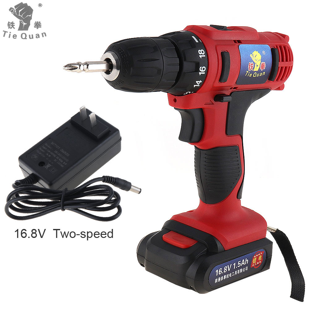 Cordless 16 8V Electric Drill Screwdriver Two Speed Household Electric Screw Driver Power Tools with 18
