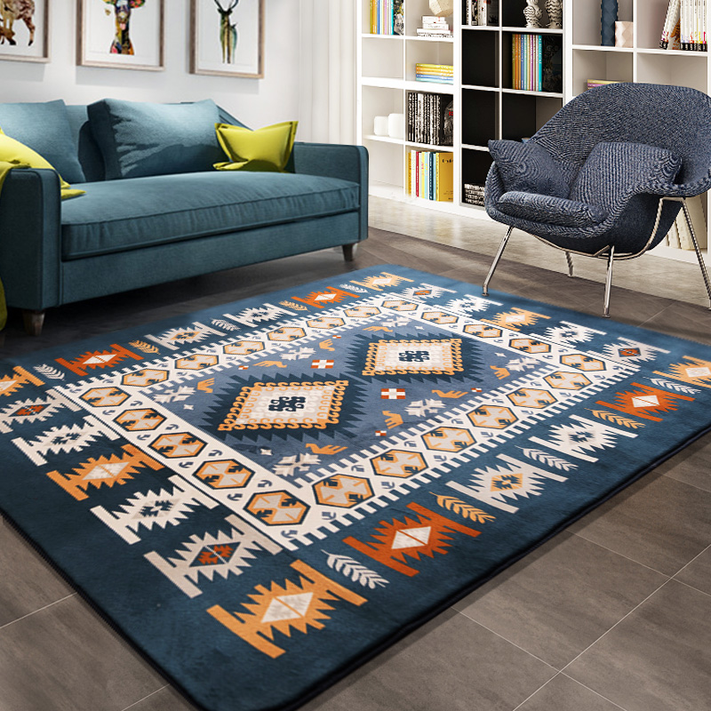 Honlaker Mediterranean Carpet Large Living Room Carpets Blue Bedroom Rugs Tea Table Rectangular Floor Mat