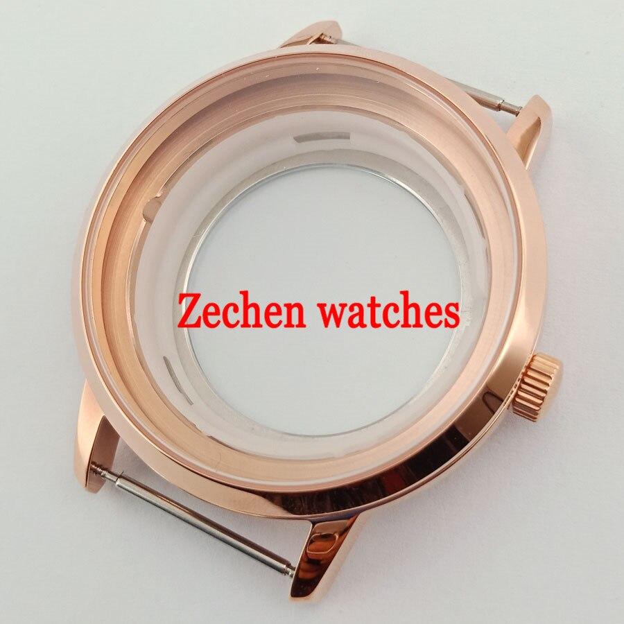 40mm Rose Gold Steel Wrist Watch Case Fit ETA 2836 ETA2836 Miyota 8205/8215/821A