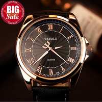 YAZOLE 2016 Men Watches Top Brand Luxury Famous Business Male Clock Men Rose Golden Leather Strap