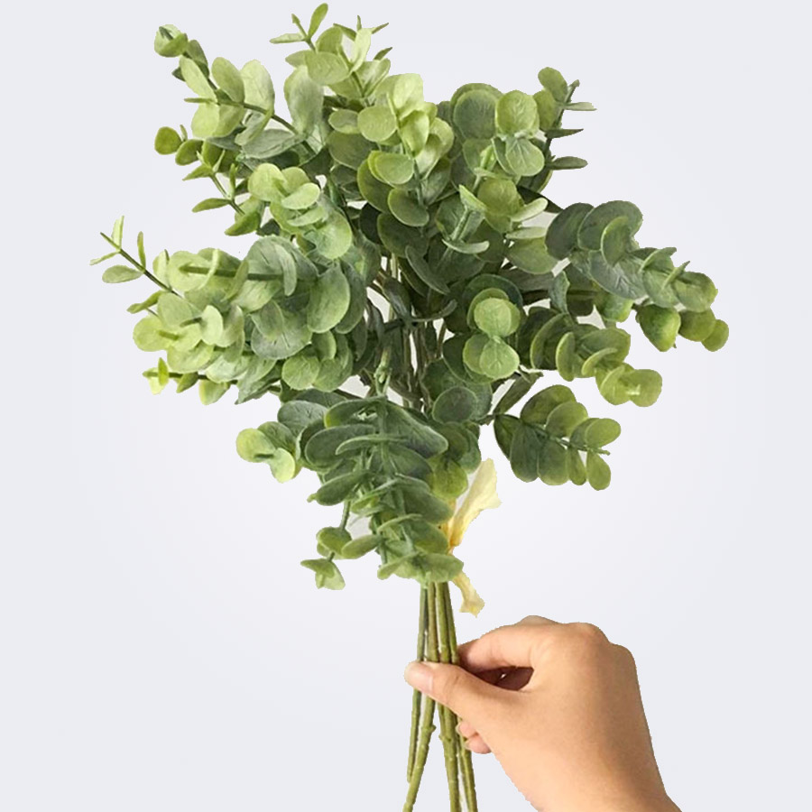 Christmas Leaf Name.6 Pcs Eucalyptus Plastic Artificial Leaves Bunch For Home Christmas Wedding Decoration Small Faux Foliage Fake Money Leaf Plant