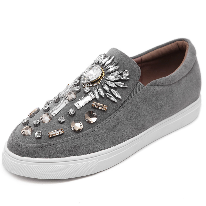 Women Flats shoes loafer Espadrilles 2017 Spring Autumn Round toe Crystsal Women Slip on Flat Platform Woman Shoes Black /Grey concise lofers for women spring women flats elastic band round toe flats size 34 43 flat sole platform shoes 2016 women shoes